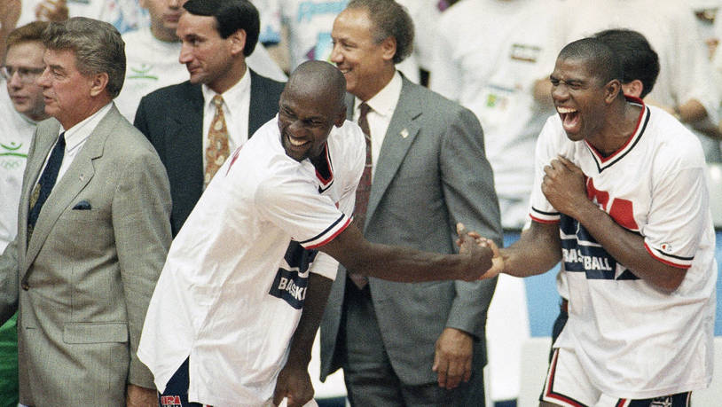 "Das Dream Team hat auch jede Menge Spass: Michael Jordan und Earvin ""Magic"" Johnson"